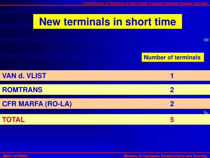 New terminals in short time