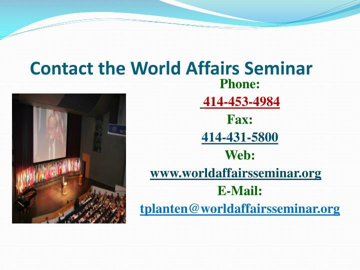 Contact the World Affairs Seminar