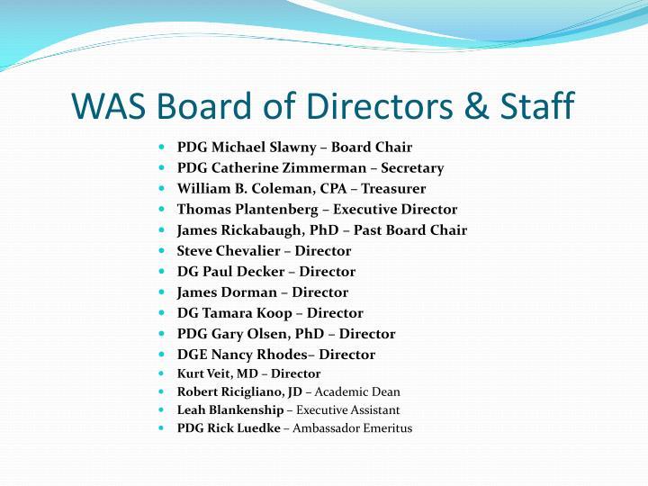 WAS Board of Directors & Staff