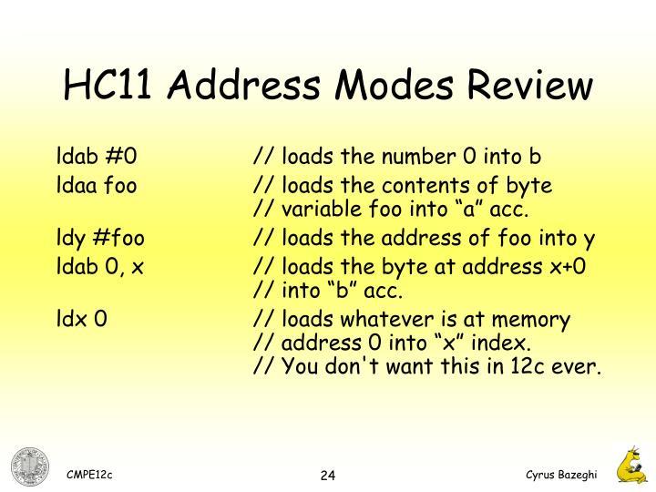 HC11 Address Modes Review