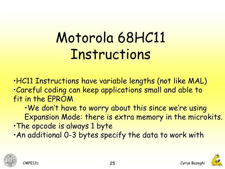Motorola 68HC11 Instructions