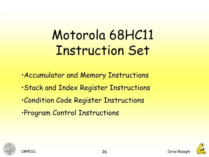Motorola 68HC11 Instruction Set