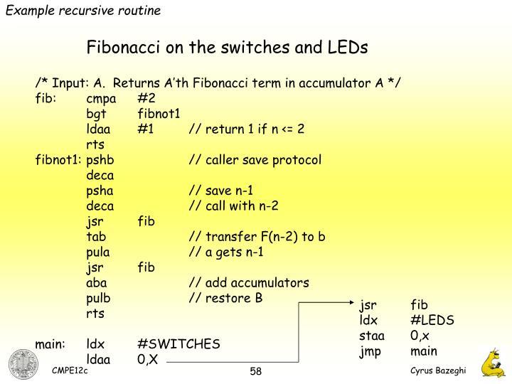 Example recursive routine