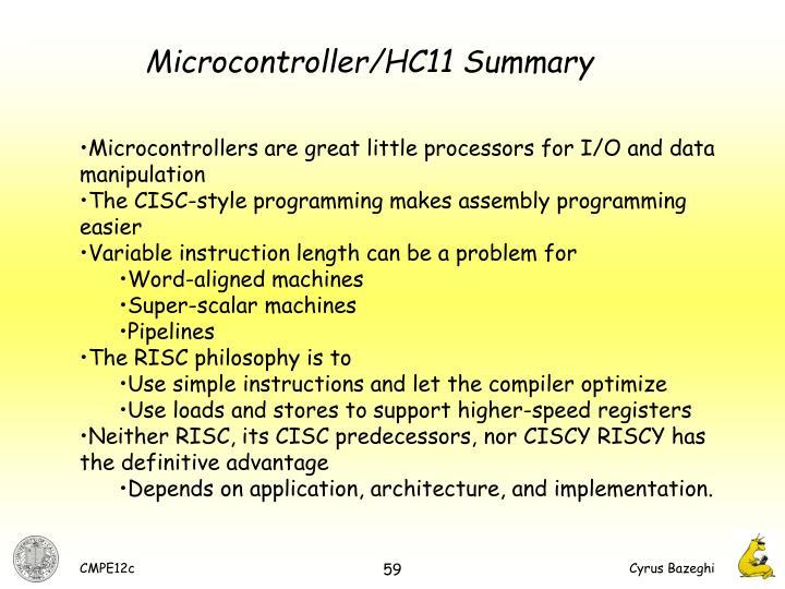 Microcontroller/HC11 Summary