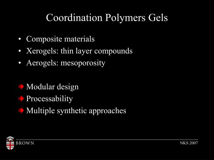 Coordination Polymers Gels