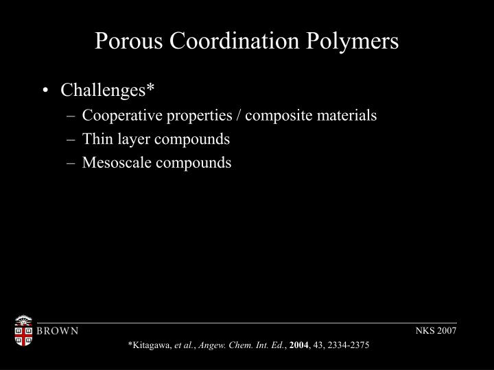 Porous Coordination Polymers