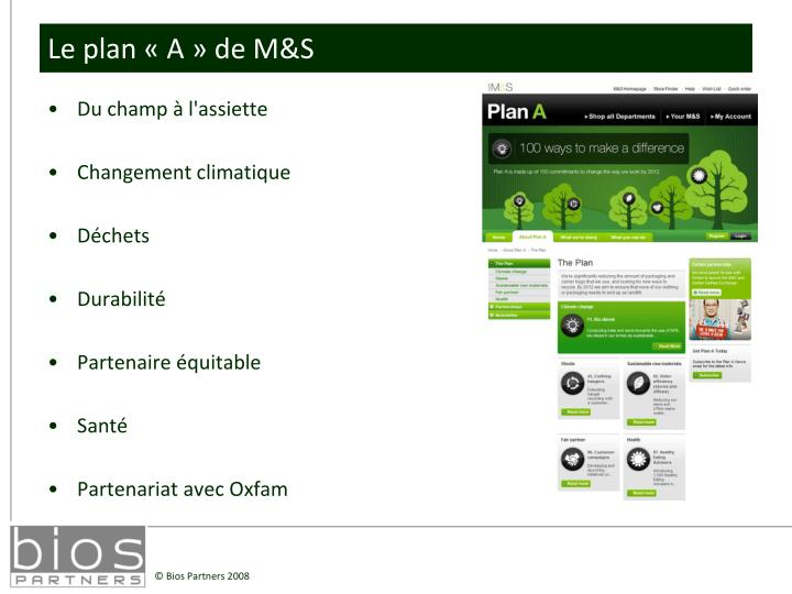 Le plan «A» de M&S