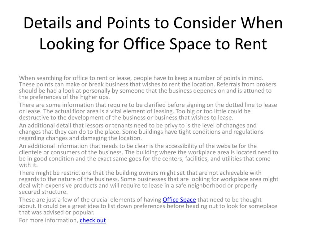 Details and Points to Consider When Looking for Office Space to Rent