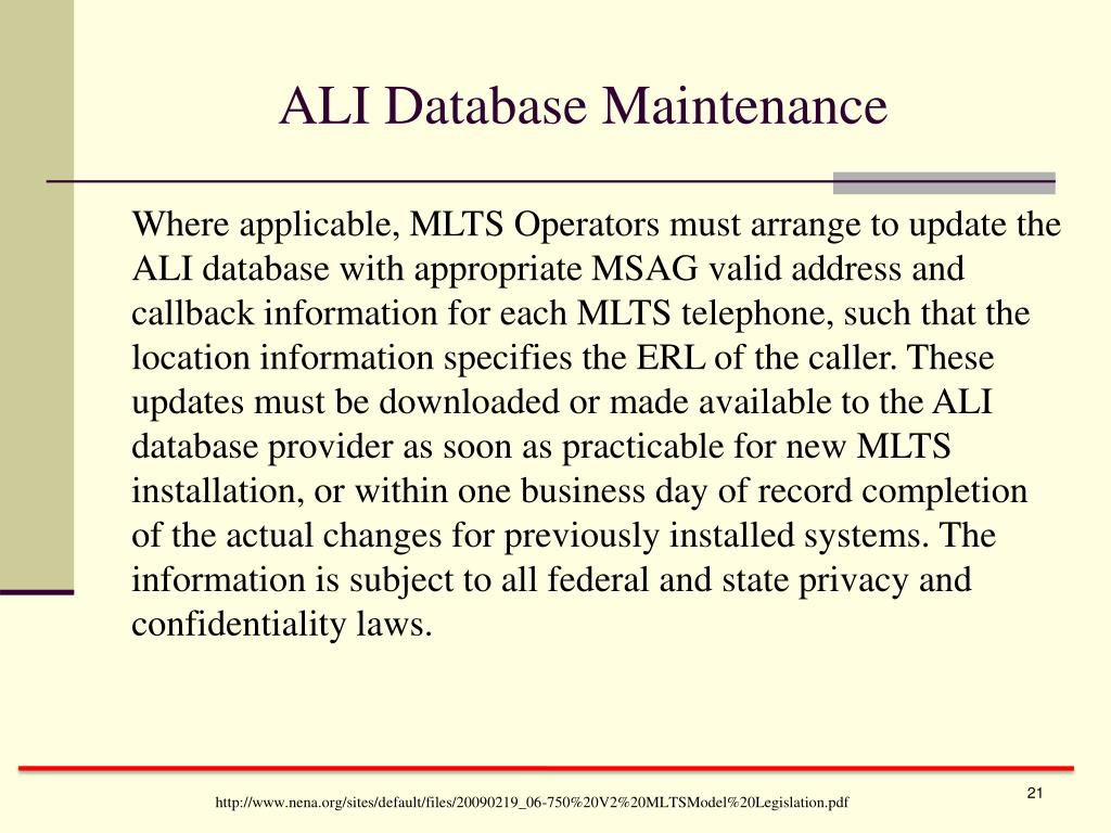 ALI Database Maintenance