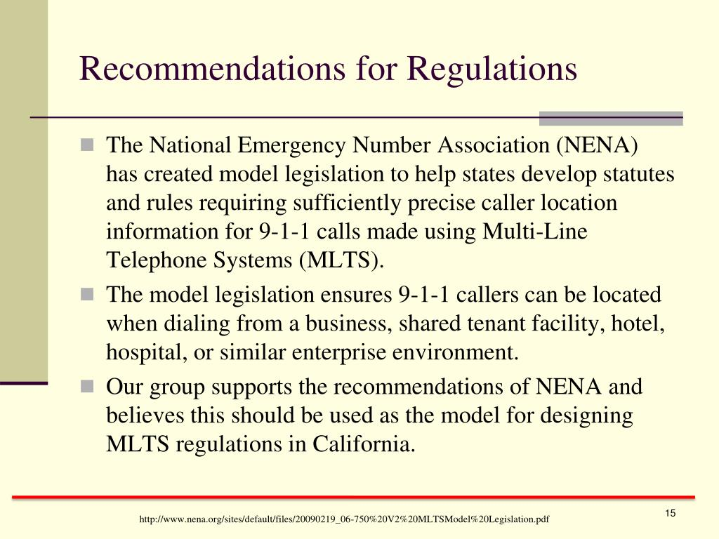 Recommendations for Regulations