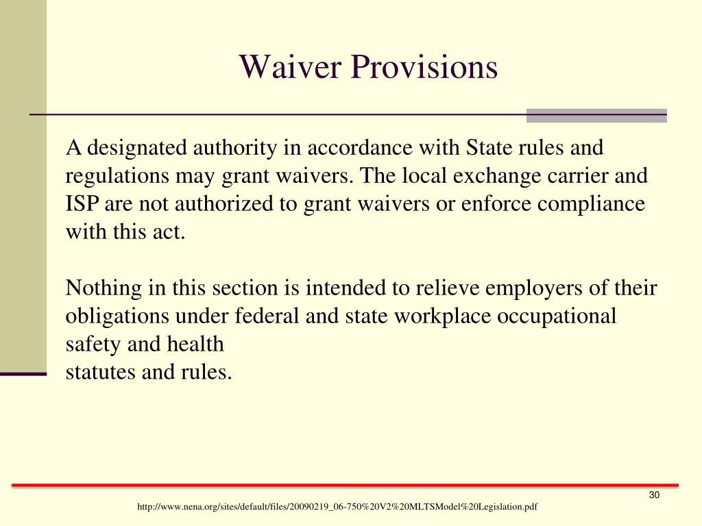 Waiver Provisions