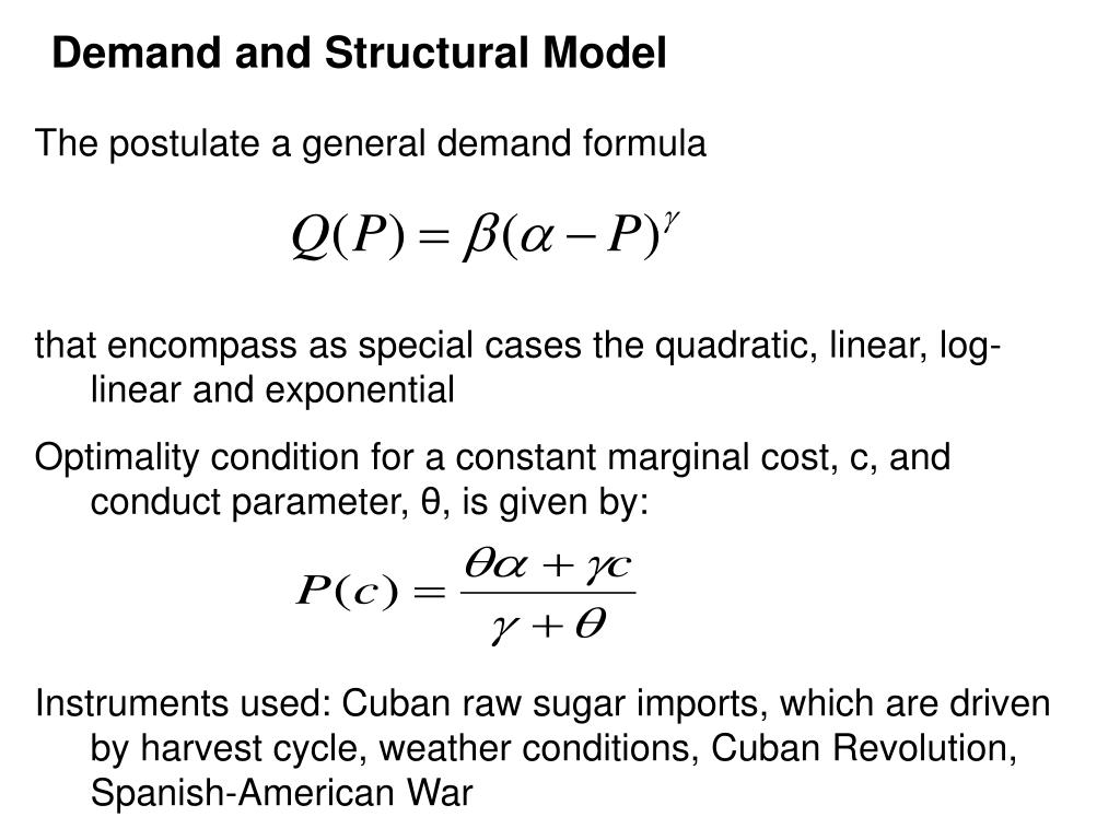 Demand and Structural Model