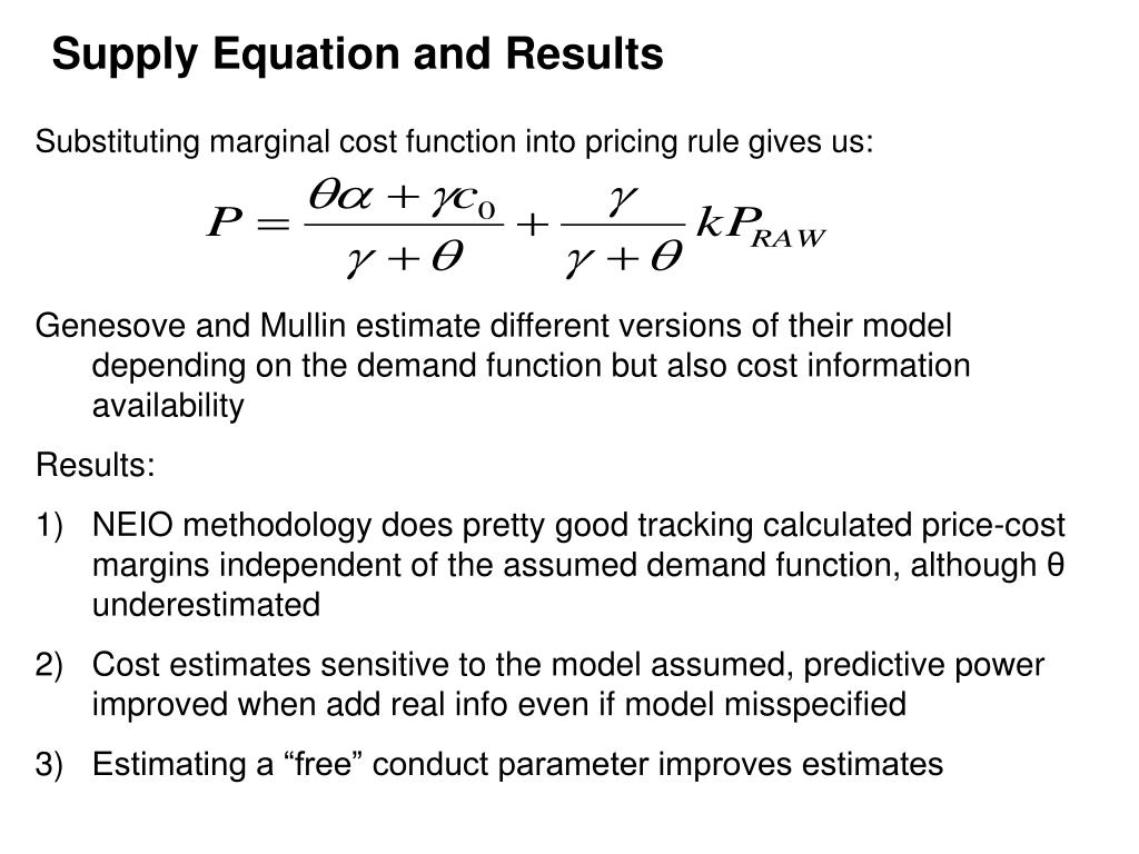 Supply Equation and Results