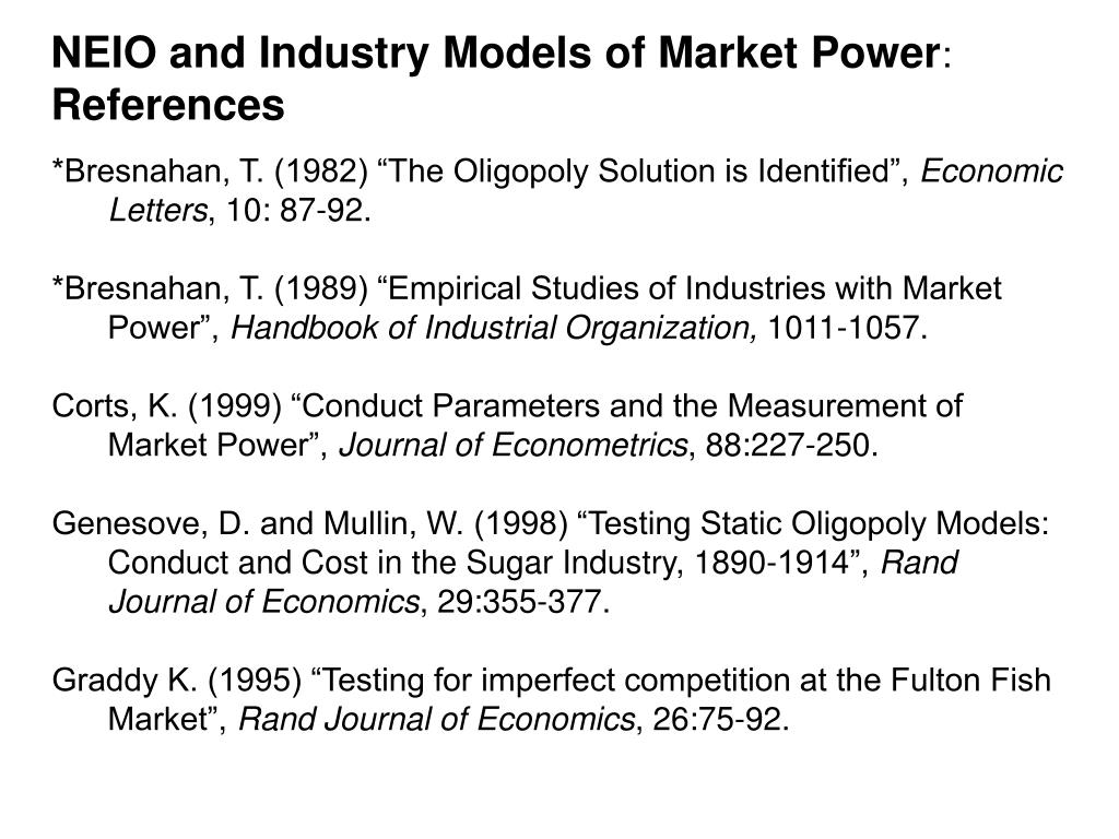 NEIO and Industry Models of Market Power