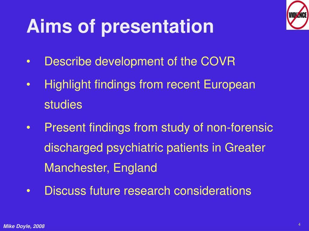 Aims of presentation