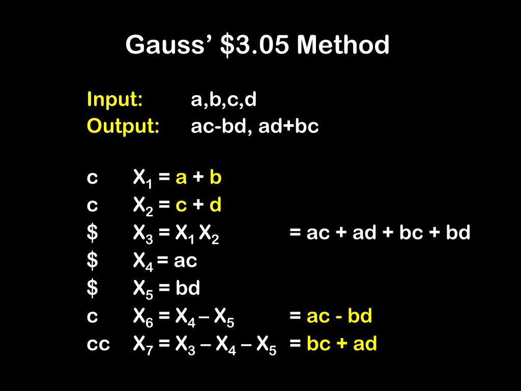 Gauss' $3.05 Method