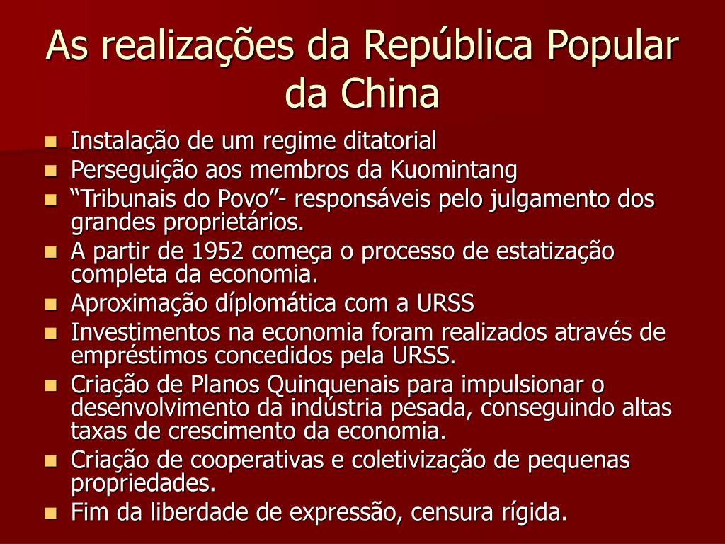 As realizações da República Popular da China