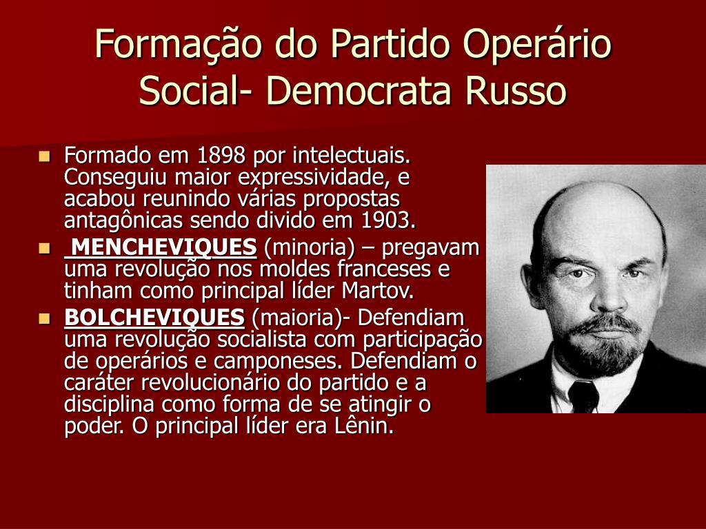 Formação do Partido Operário Social- Democrata Russo