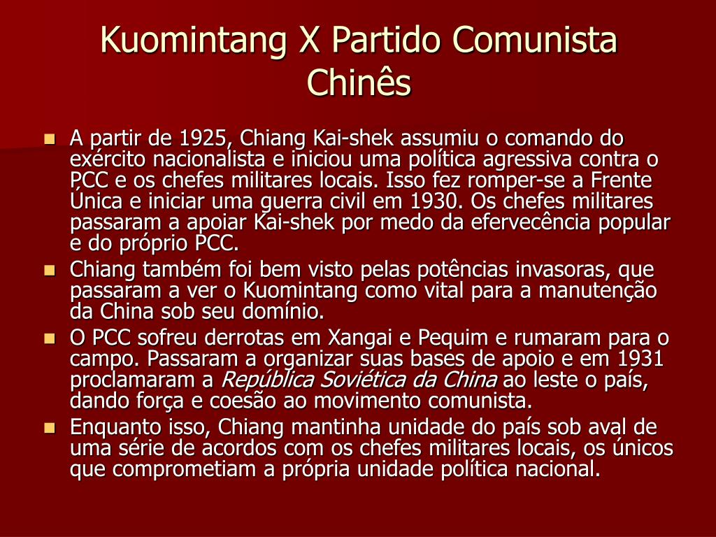 Kuomintang X Partido Comunista Chinês