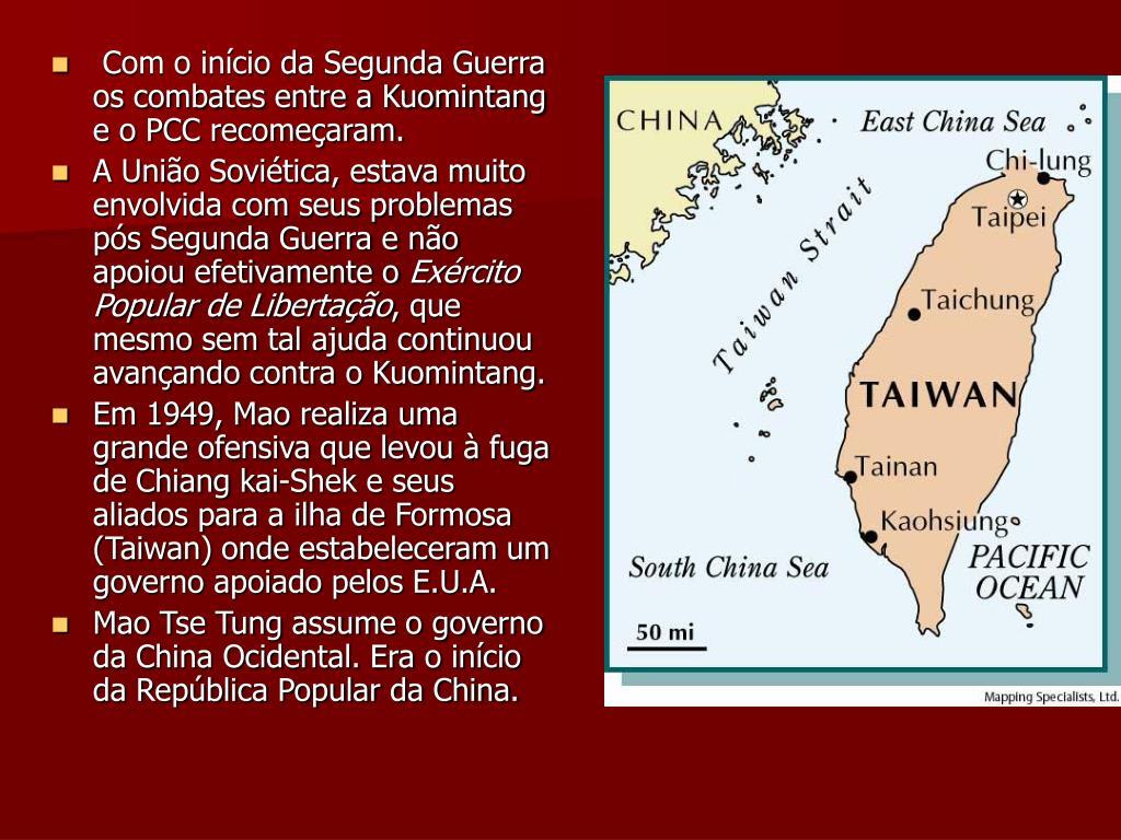 Com o início da Segunda Guerra os combates entre a Kuomintang e o PCC recomeçaram.