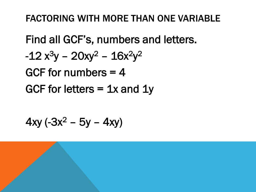 Factoring with more than one variable