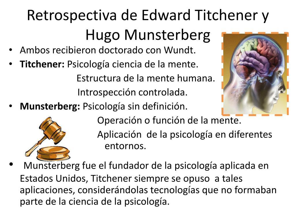 Retrospectiva de Edward Titchener y Hugo Munsterberg