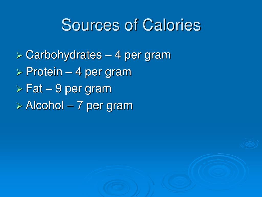 Sources of Calories