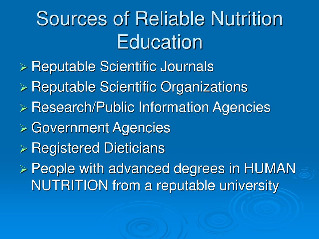 Sources of Reliable Nutrition Education