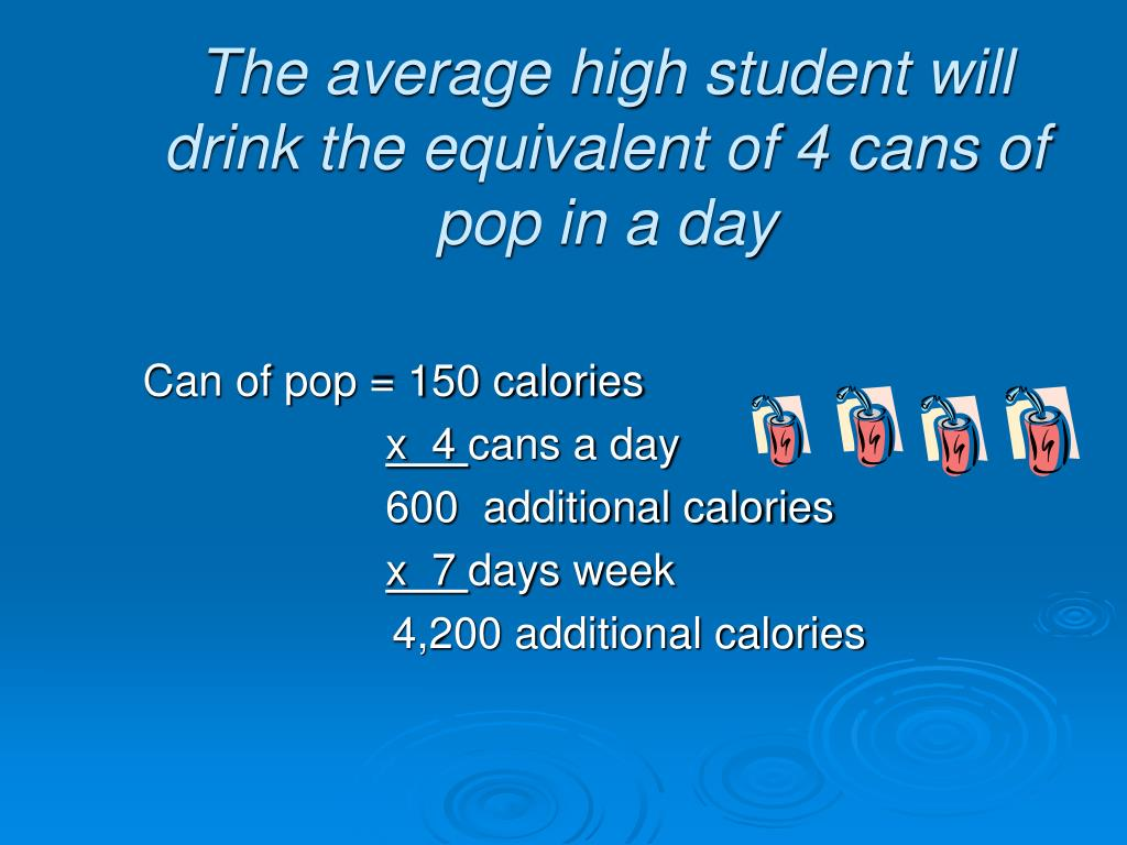 Can of pop = 150 calories