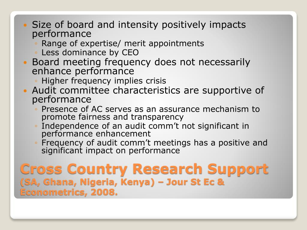 Size of board and intensity positively impacts performance