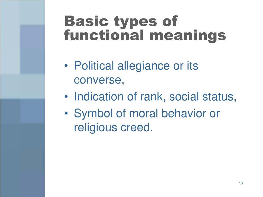 Basic types of functional meanings