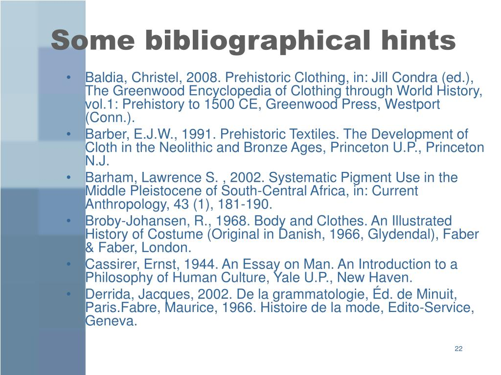 Some bibliographical hints