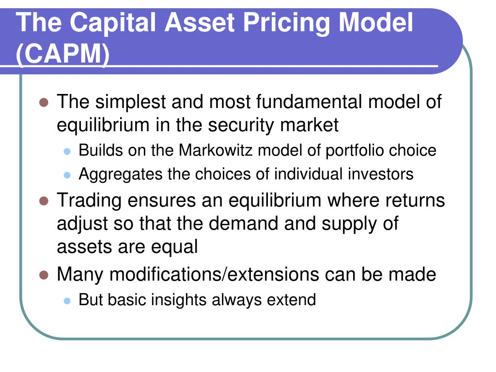 analysis of the capital assets pricing model Briefly set out arguments in favour of - and against - the capital asset pricing model (capm), outline its uses and make a critique of its underlying.