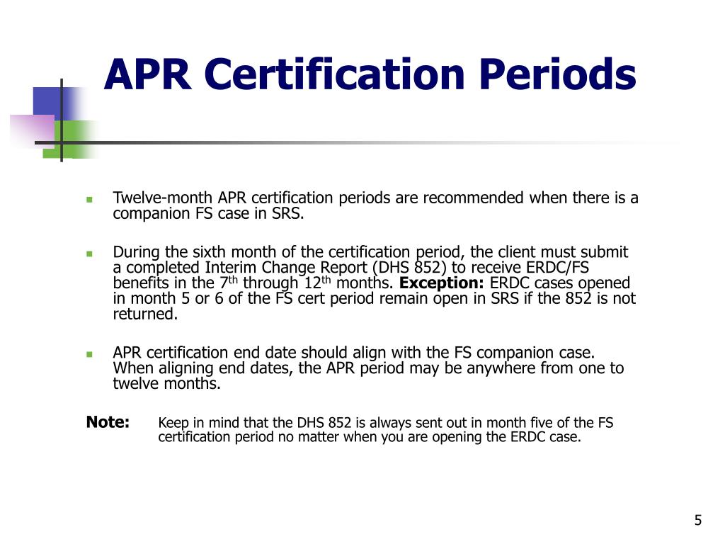 APR Certification Periods