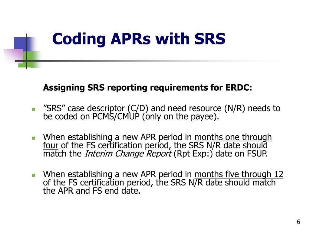 Coding APRs with SRS
