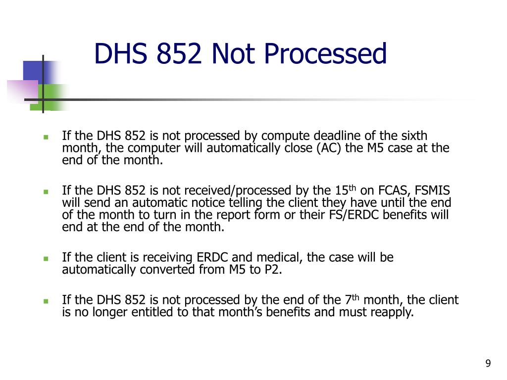 DHS 852 Not Processed