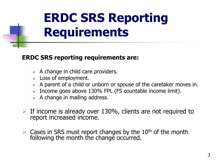 Erdc srs reporting requirements
