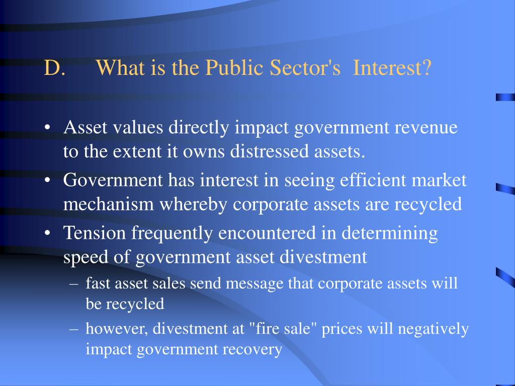D.What is the Public Sector's Interest?