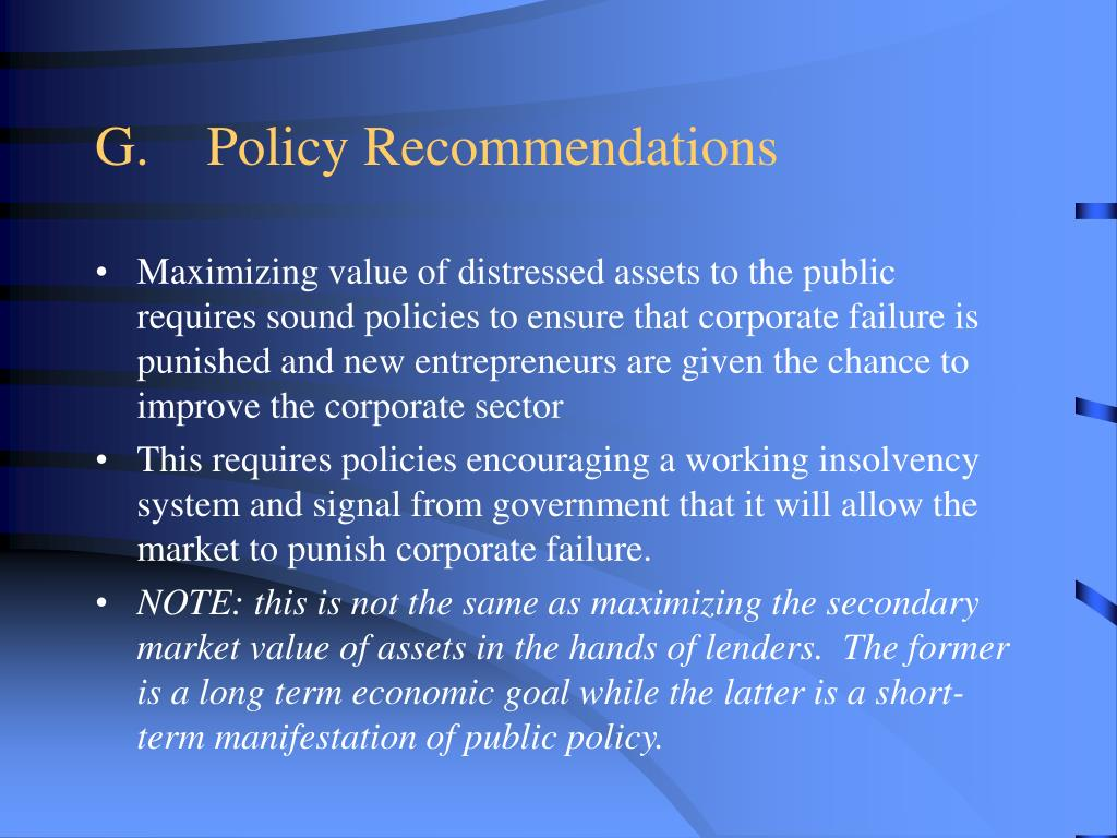 G.Policy Recommendations