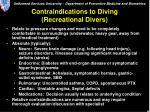 contraindications to diving recreational divers