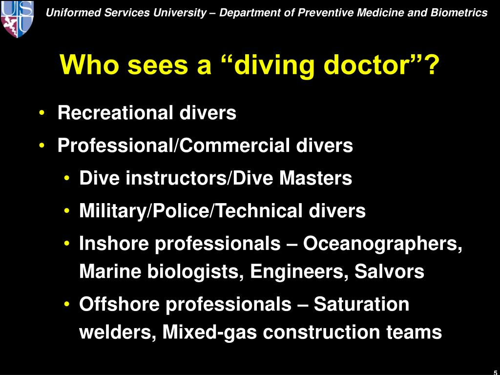 """Who sees a """"diving doctor""""?"""