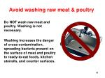 avoid washing raw meat poultry