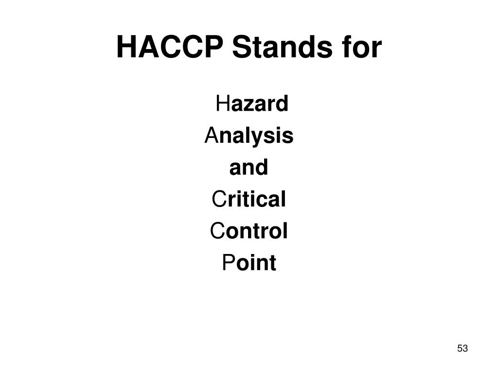 HACCP Stands for