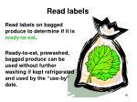 read labels