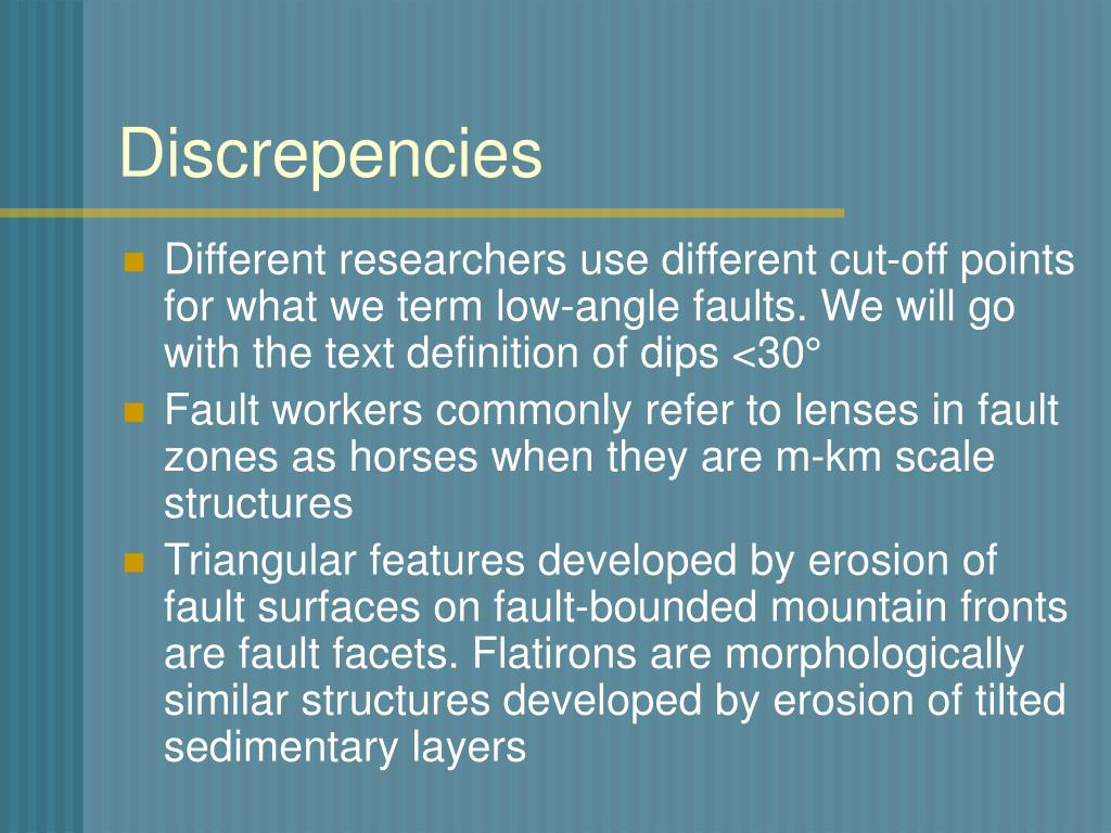 Discrepencies
