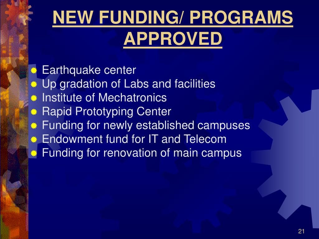 NEW FUNDING/ PROGRAMS APPROVED
