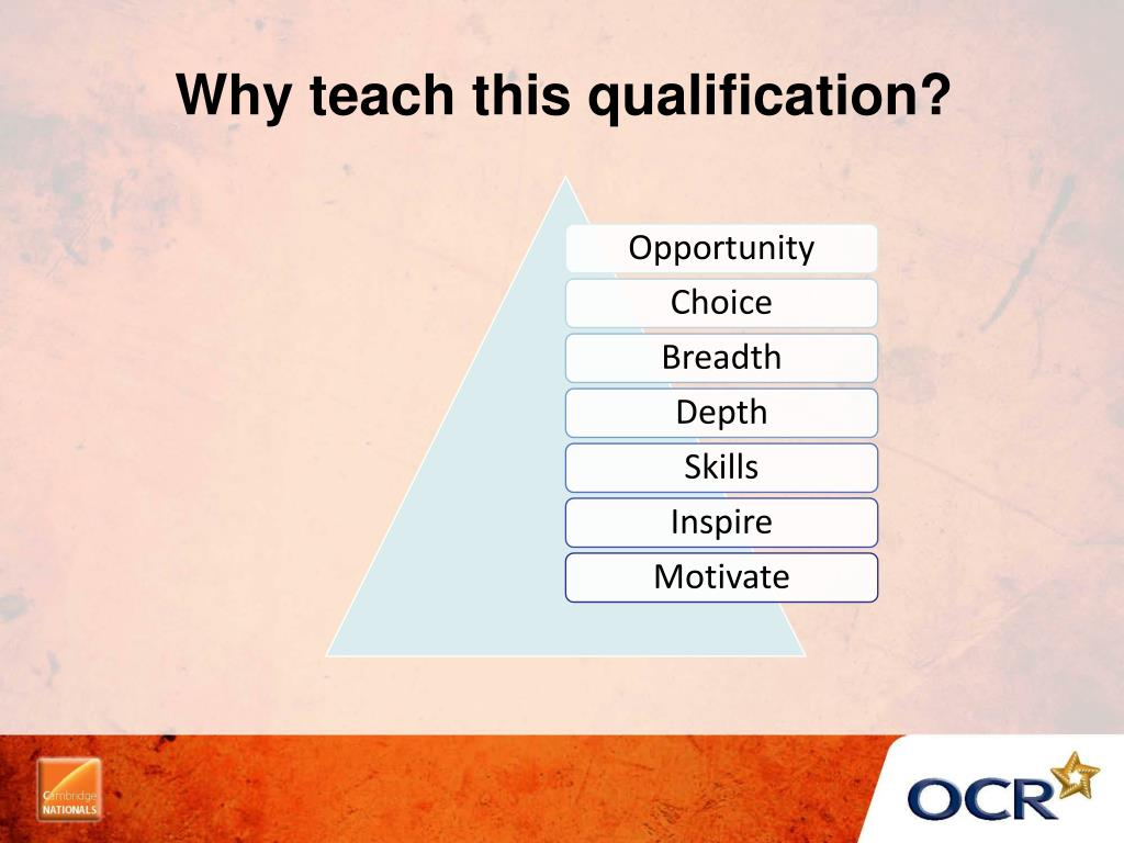 Why teach this qualification?