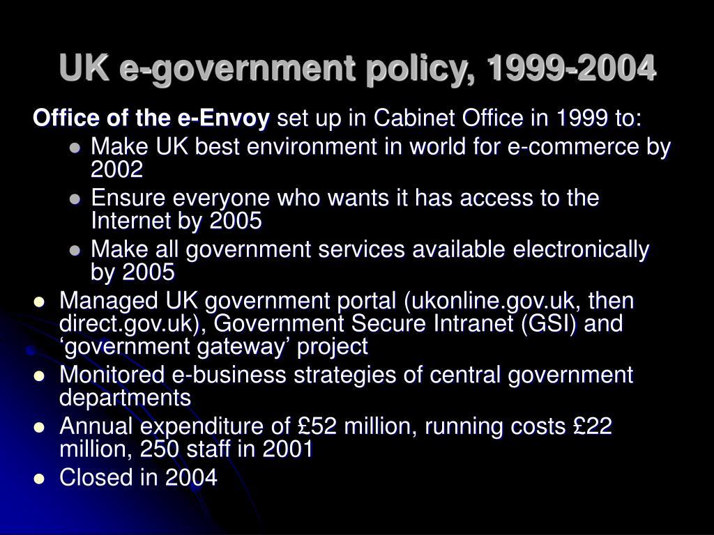 UK e-government policy, 1999-2004