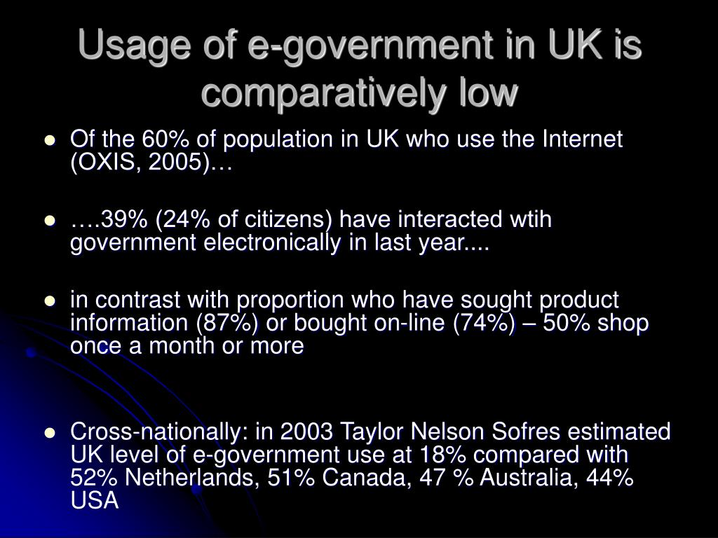 Usage of e-government in UK is comparatively low