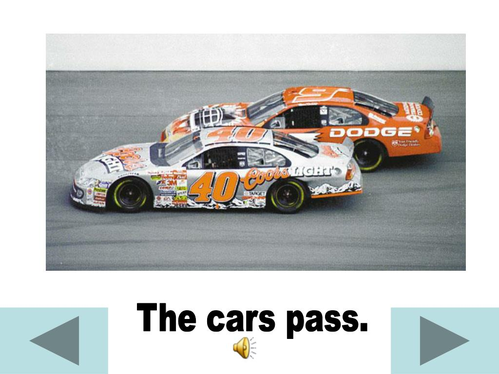 The cars pass.